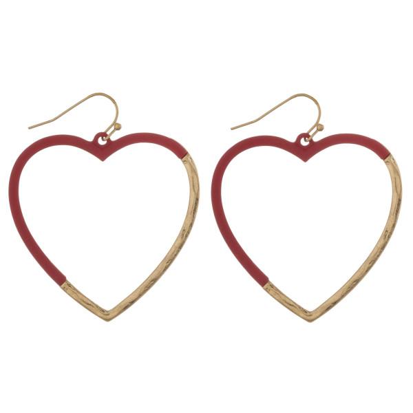 "Metal and resin inspired heart earrings. Approximately 2"" in diameter."