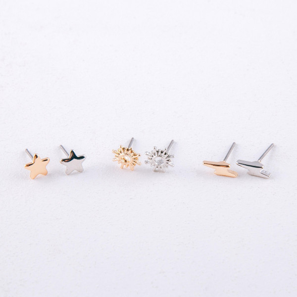 Trio stud earring set featuring the north star, stars, and lightning bolt details. Approximately .5 cm each in size.