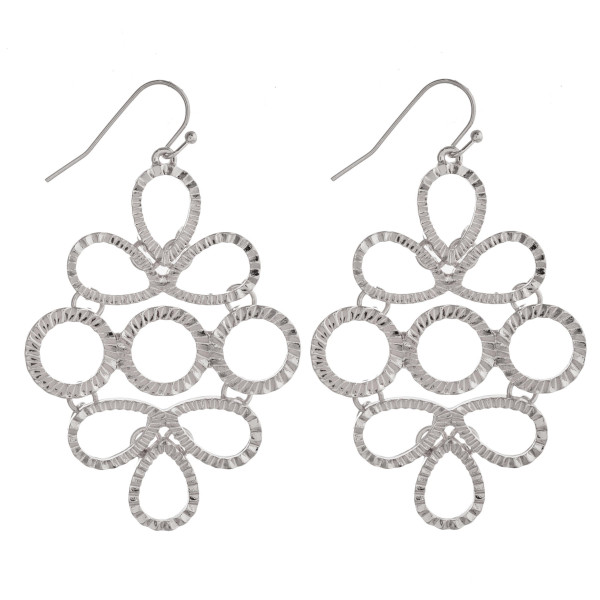 """Hammered metal link drop earrings featuring teardrop and circle accents. Approximately 2.5"""" in length."""