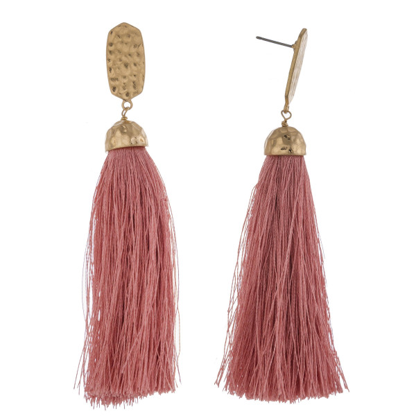 "Long tassel earrings featuring a metal stud post. Approximately 3.5"" in length."