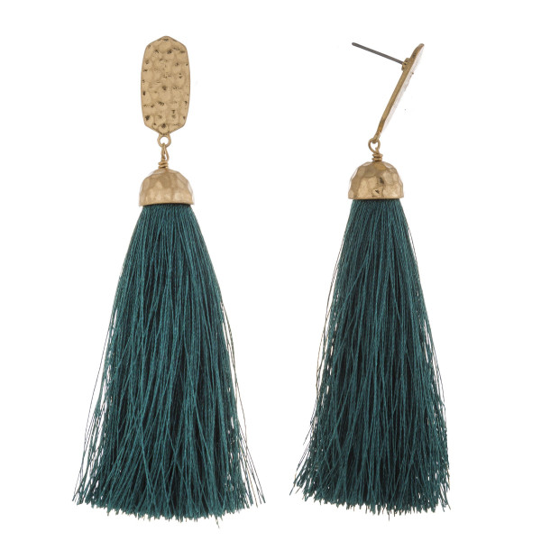 """Long tassel earrings featuring a metal stud post. Approximately 3.5"""" in length."""