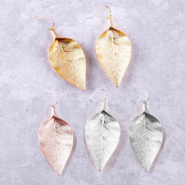 "Metal leaf earrings. Approximately 2.5"" in length."