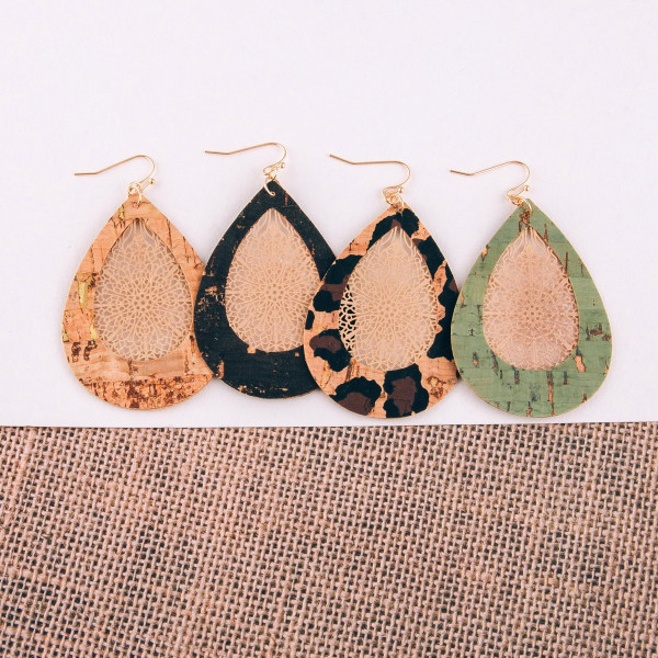 """Cork inspired teardrop earrings featuring filigree center details. Approximately 2.5"""" in length."""