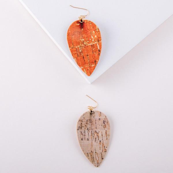 "Long cork inspired drop earrings. Approximately 3"" in length."