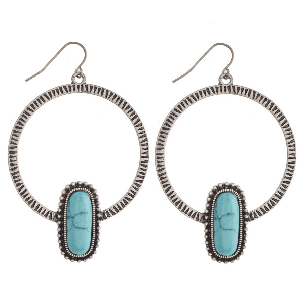 """Western style earrings with natural stone details. Approximately 3"""" in length."""
