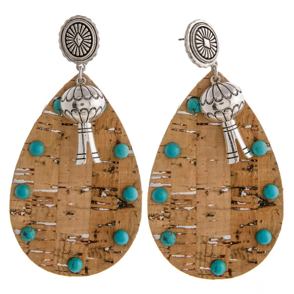 """Large cork inspired teardrop earrings featuring a metal accent with natural stone details and a western flower stud post. Approximately 3.5"""" in length."""