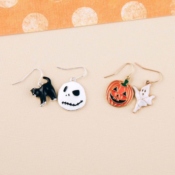 "Nightmare Before Christmas themed enamel coated mix match dangle earrings. Approximately 1"" in length."