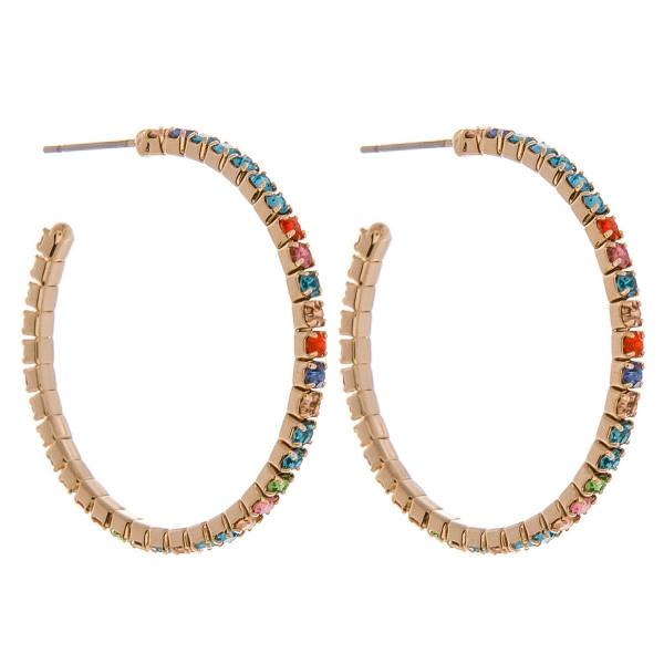 Wholesale gold hoop earrings multicolor cubic zirconia details diameter