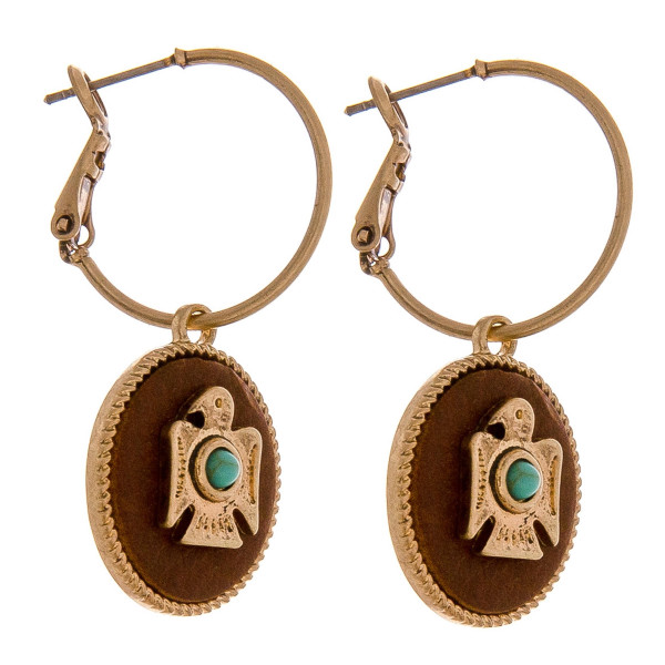 Wholesale dainty hoop earrings faux leather accent eagle center detail