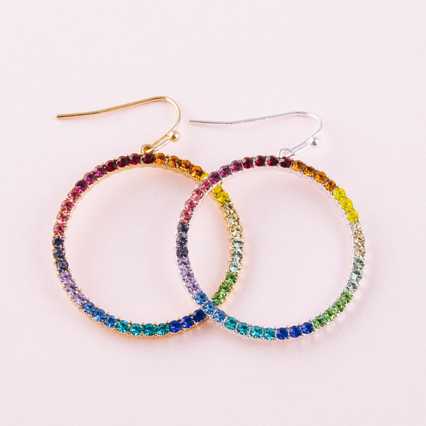 "Circular metal earrings featuring multicolor cubic zirconia details. Approximately 1.5"" in length."