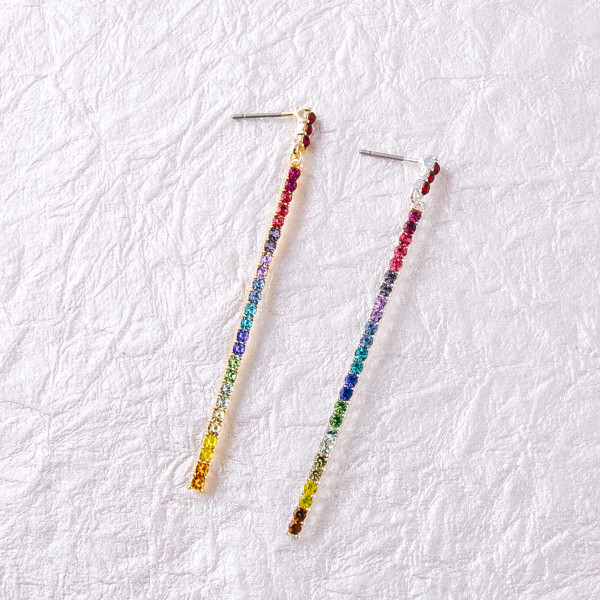 "Multicolor cubic zirconia bar drop earrings. Approximately 2.5"" in length."