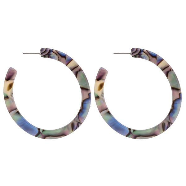 "Resin abalone open hoop earrings. Approximately 2.5"" in diameter."
