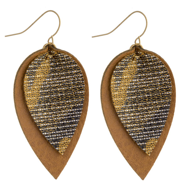 """Faux leather drop earrings featuring a metallic print detail. Approximately 2.5"""" in length."""