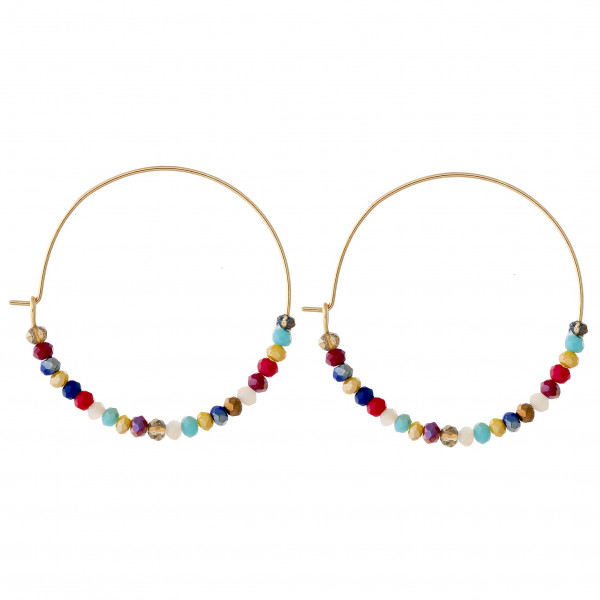 "Dainty hoop earrings featuring multicolor faceted beaded details. Approximately 1.5"" in diameter."
