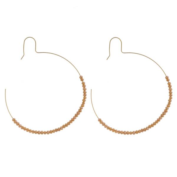 """Large dainty faceted beaded hoop earrings. Approximately 2.5"""" in diameter."""