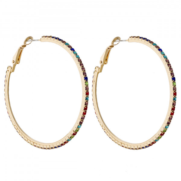 "Metal hoop earrings featuring multicolor cubic zirconia details. Approximately 2"" in diameter."