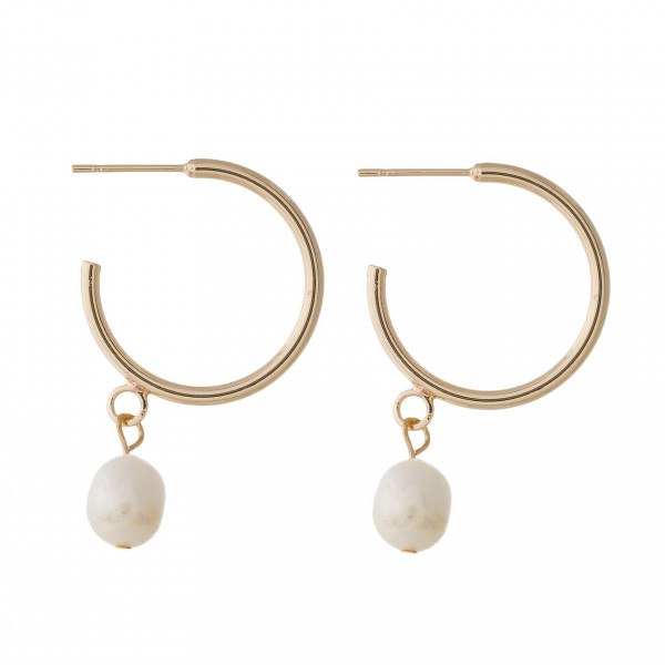 """Hoop earrings featuring a pearl accent with a stud post. Approximately 1.5"""" in length."""