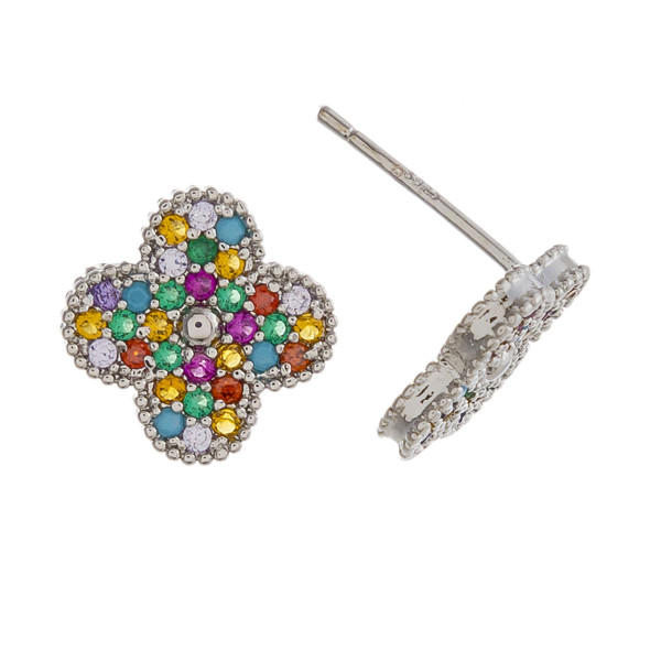 Dainty clover stud earrings featuring multicolor cubic zirconia details. Approximately 1cm in diameter.
