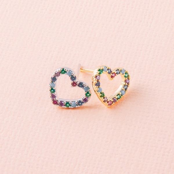 Dainty heart stud earrings featuring multicolor cubic zirconia details. Approximately 1cm in diameter.
