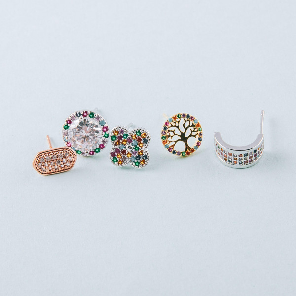 Dainty multicolor stud earrings featuring the tree of life and cubic zirconia details. Approximately 1cm in diameter.