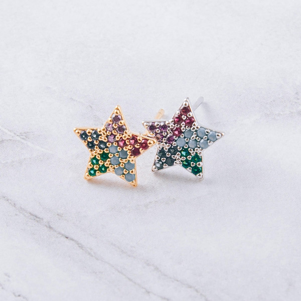 Dainty star stud earrings featuring multicolor cubic zirconia details. Approximately 1cm in diameter.