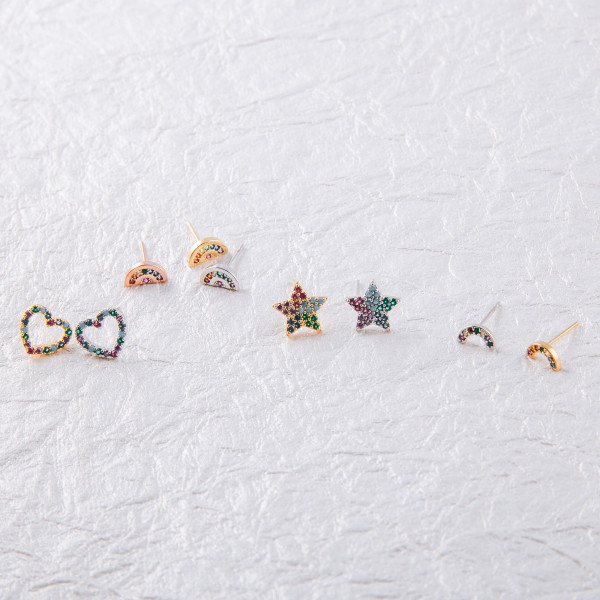 Dainty stud earrings featuring multicolor cubic zirconia details. Approximately .5cm wide.