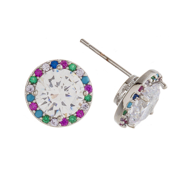 Rhinestone stud earrings featuring multicolor cubic zirconia details. Approximately 1cm in diameter.