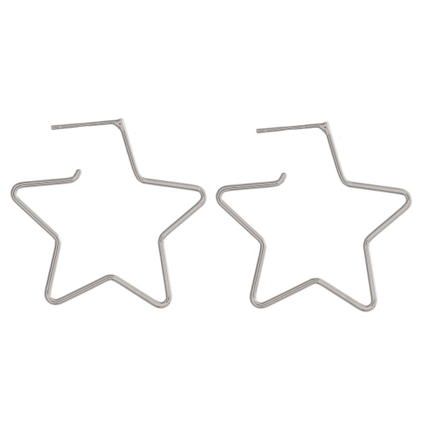 """Metal star hoop earrings featuring a stud post. Approximately 1"""" in length."""