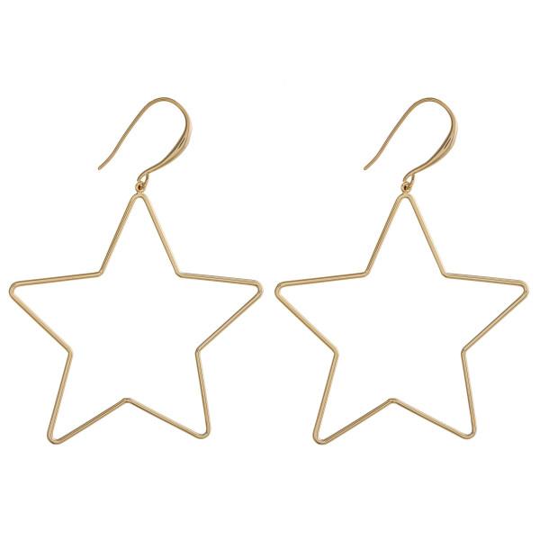 "Metal star drop earrings. Approximately 2"" in length."