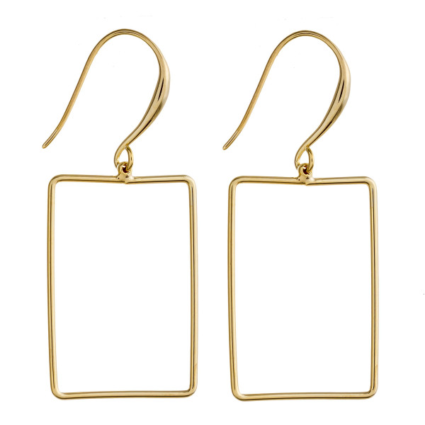 """Metal square drop earrings. Approximately 1.5"""" in length."""