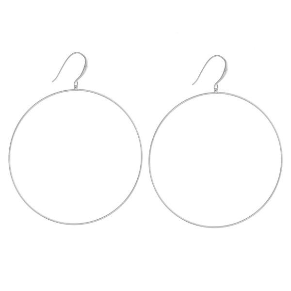 "Metal circular drop earrings. Approximately 3"" in length."