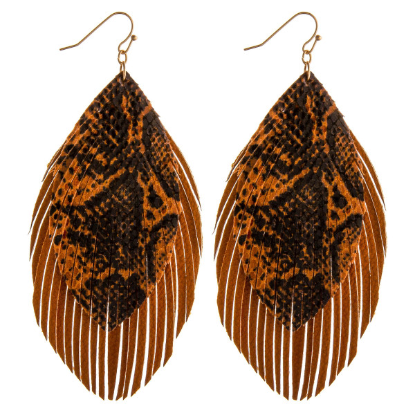"""Double layered faux leather feather earrings with snakeskin details. Approximately 4"""" in length."""