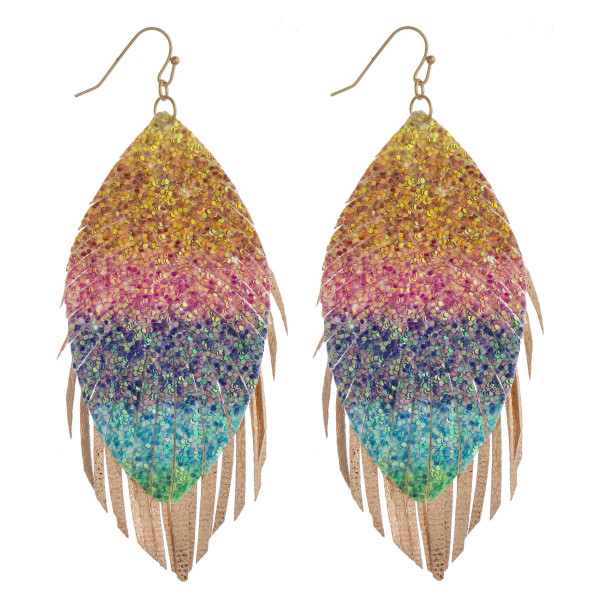 "Long feather inspired earrings featuring a rainbow glitter detail with metallic tassel accents. Approximately 4"" in length."