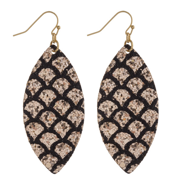 """Long pointed oval drop earrings featuring mermaid scale sequins details. Approximately 2.5"""" in length."""