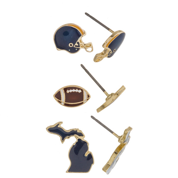 Trio stud earring set featuring football helmet, football and Michigan state details. Approximately 1cm each in size.