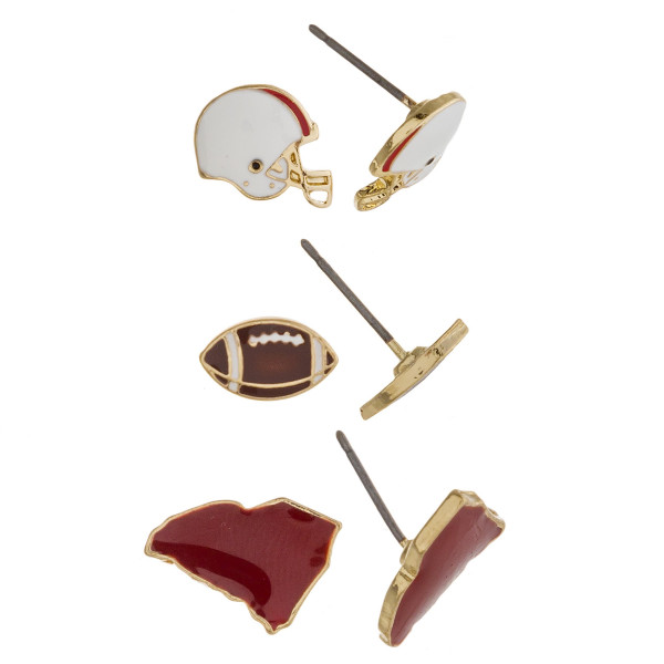 Trio stud earring set featuring football helmet, football and South Carolina state details. Approximately 1cm each in size.