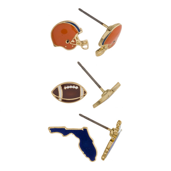 Trio stud earring set featuring football helmet, football and Florida state details. Approximately 1cm each in size.