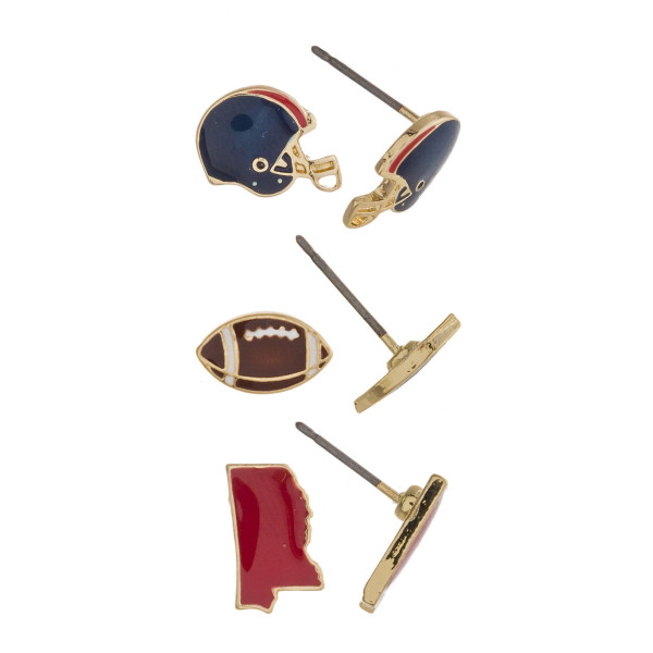 Trio stud earring set featuring football helmet, football and Mississippi state details. Approximately 1cm each in size.