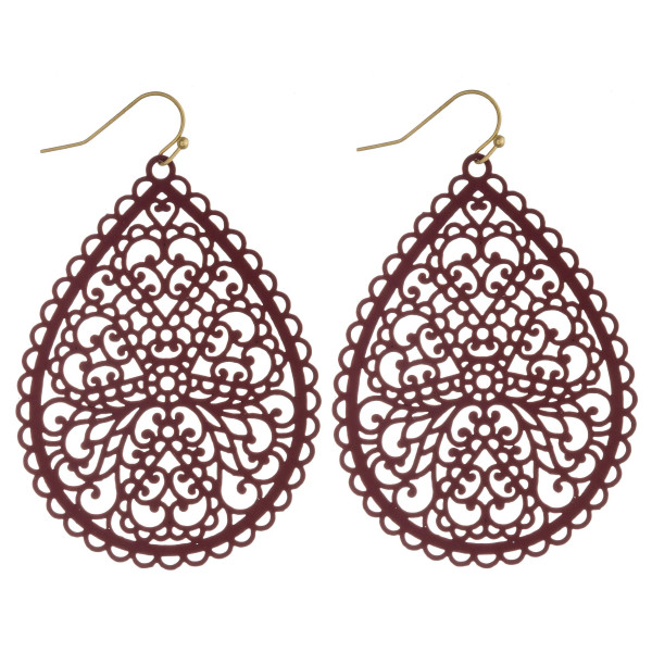 Wholesale long filigree inspired teardrop earrings
