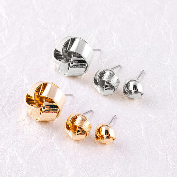 """Tied knot stud earring set. Smallest pair approximately 1cm. Largest pair approximately .5"""" in diameter."""