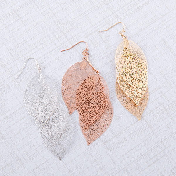 """Trio filigree leaf inspired drop earrings. Approximately 3.5"""" in length."""