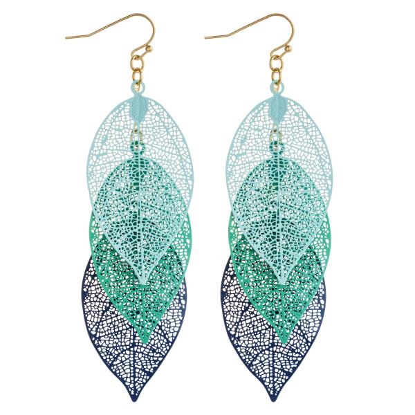"Leaf filigree drop earrings. Approximately 3.5"" in length."