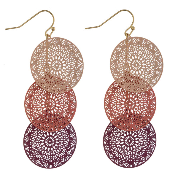 """Long trio disc filigree inspired drop earrings. Approximately 2.5"""" in length."""
