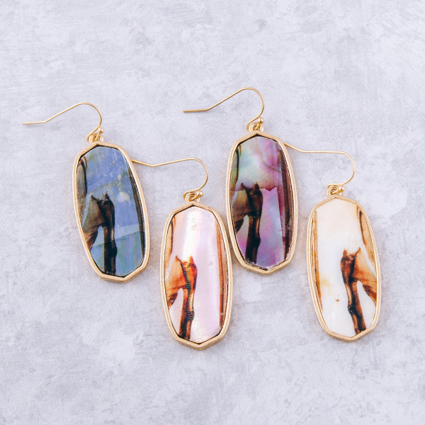 """Oblong resin earrings with abalone inspired details. Approximately 2"""" in length."""