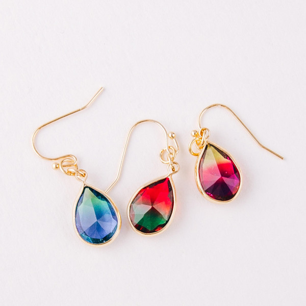 "Dainty multicolor iridescent teardrop earrings. Approximately 1"" in length."