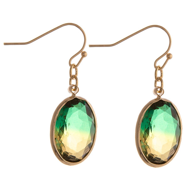 """Multicolor iridescent oval drop earrings. Approximately 1.5"""" in length."""