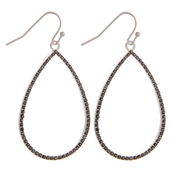"Dainty teardrop earrings featuring cubic zirconia details. Approximately 1.5"" in length."