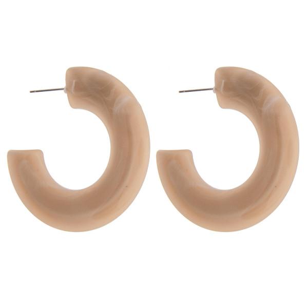 """Acrylic resin flat hoop earrings. Approximately 2"""" in diameter."""