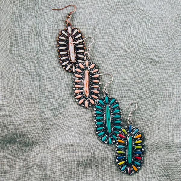 "Natural stone inspired drop earrings. Approximately 2"" in length."