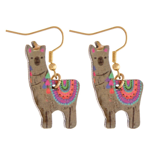 "Wood inspired lama earrings. Approximately 1"" in length."